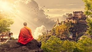 Monk sitting on the cliff