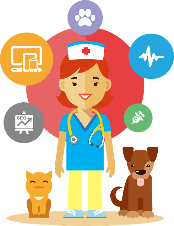 woman nurse with dog and cat graphic